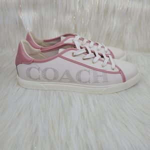 NEW w Box Coach C136 Low Top Sneakers Cream Pink